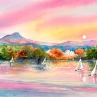 Sunset on Shelburne Bay, original watercolor by Kathleen Berry Bergeron