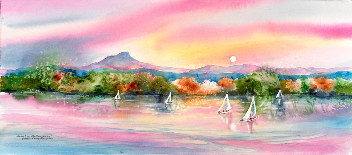 Sunset on Shelburne Bay, original watercolor by Kathleen Berry Bergeron