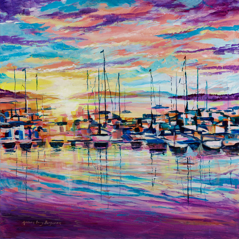 Harbor Sunset original acrylic painting by Kathleen Berry Bergeron