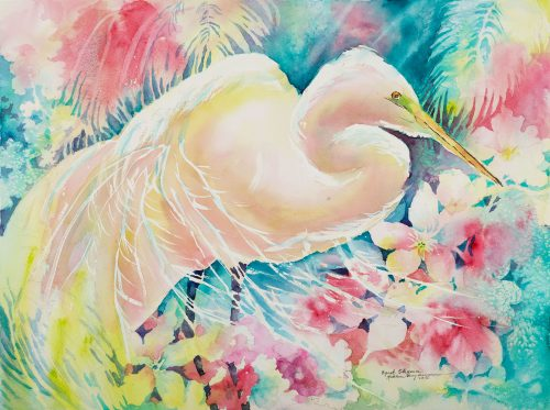"""Egret Elegance"" watercolor by Vermont artist Kathleen Berry Bergeron"