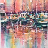 Mallets Bay Marina: Original watercolor by Kathleen Berry Bergeron