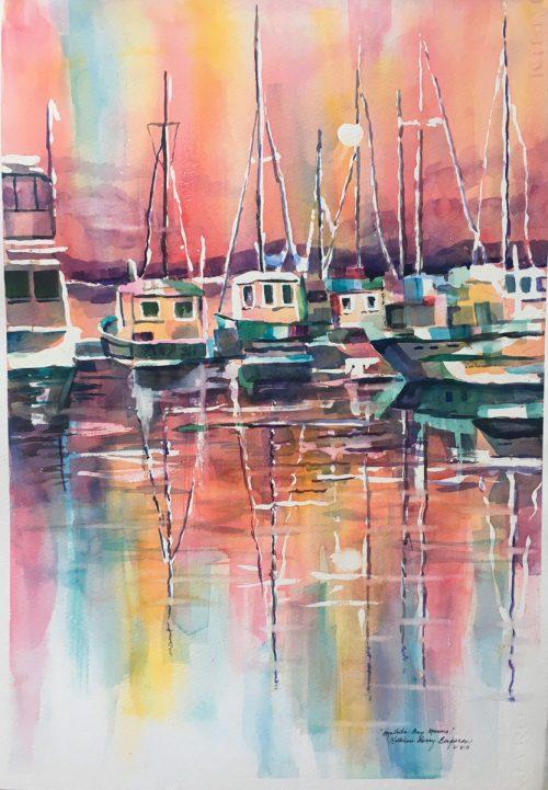 Mallets Bay Marina: Original watercolor by Kathleen Berry Bergeron
