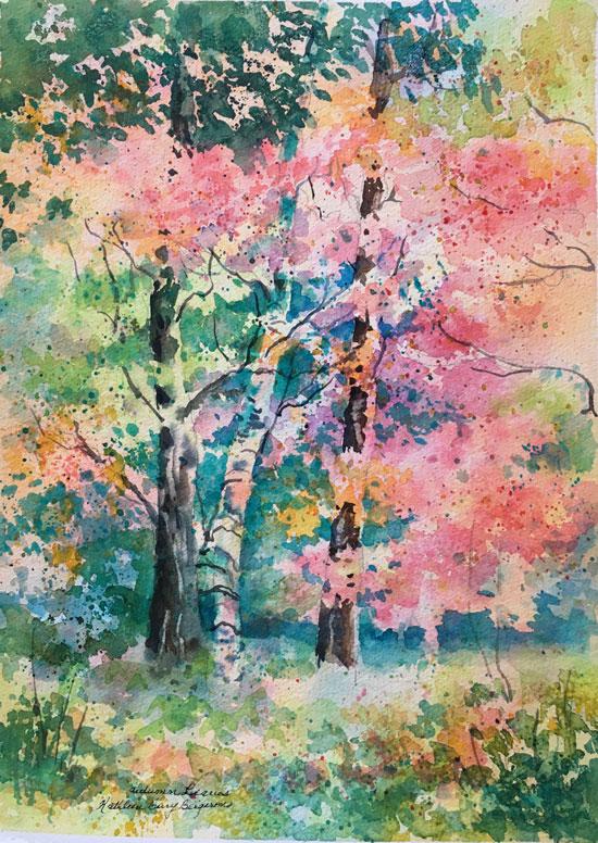 """Autumn Leaves"" original watercolor by Kathleen Berry Bergeron"