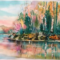 Autumn Reflections original watercolor by Kathleen Berry Bergeron