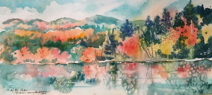 """""""By The Lake"""" original watercolor by Kathleen Berry Bergeron"""