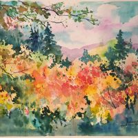 """""""Fall Vermont Colors"""" original watercolor by Kathleen Berry Bergeron"""