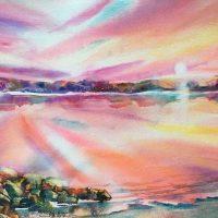 """Maquam Bay"" original watercolor by Kathleen Berry Bergeron"