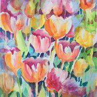 "Original Watercolor ""Tulip Dance"" by Kathleen Berry Bergeron"