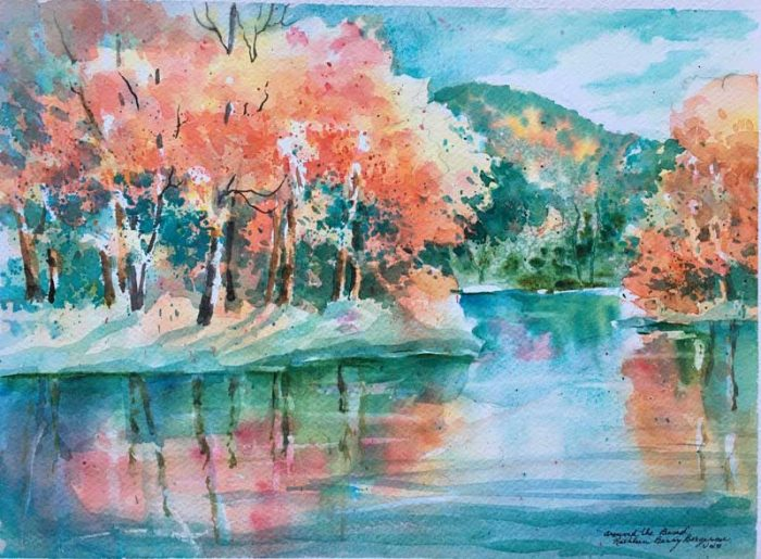 """""""Around the Bend"""" original watercolor by Kathleen Berry Bergeron"""