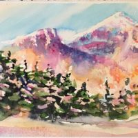 """Mountain Glow"" original watercolor by Kathleen Berry Bergeron"
