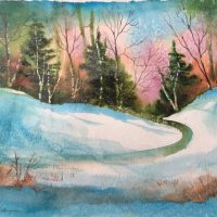 """""""Through the Woods"""" original watercolor by Kathleen Berry Bergeron"""