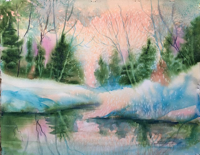 """Winter Solstice"" original watercolor by Kathleen Berry Bergeron"