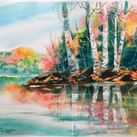 """""""Reflections"""" original watercolor by Kathleen Berry Bergeron"""