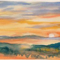 Lake Sunset original watercolor by Kathleen Berry Bergeron