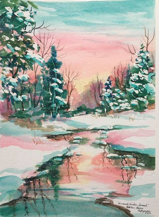 Vermont Winter Sunset original watercolor by Kathleen Berry Bergeron