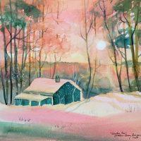Winter Eve original watercolor by Kathleen Berry Bergeron