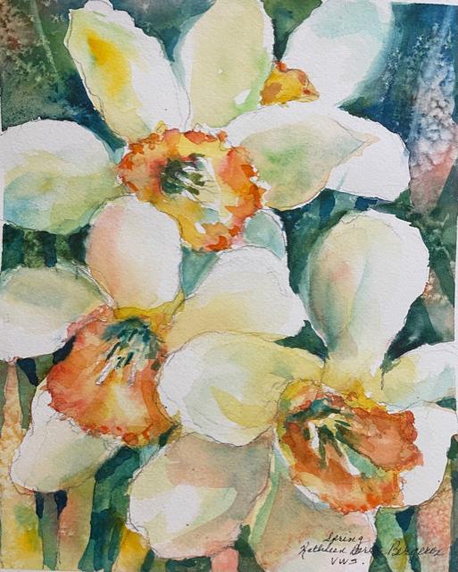 Spring original watercolor by Kathleen Berry Bergeron